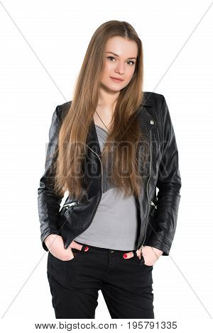 Portrait of nice woman posing in black jacket. Isolated on white