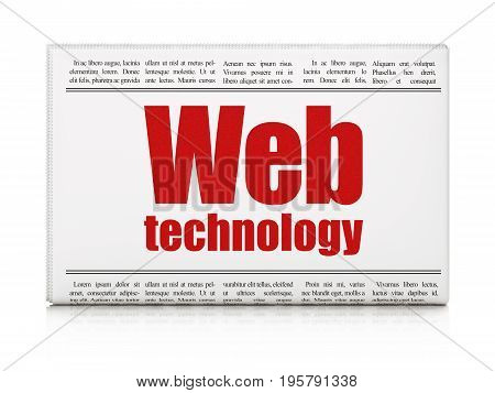 Web design concept: newspaper headline Web Technology on White background, 3D rendering