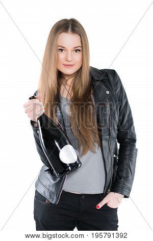 Portrait of nice woman posing in black jacket with a bottle. Isolated on white
