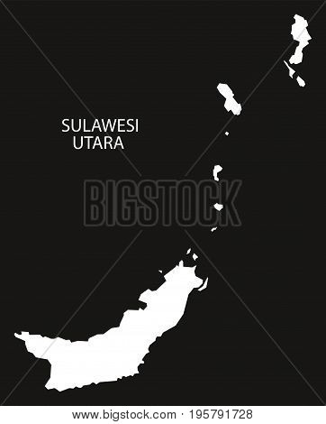 Sulawesi Utara Indonesia Map Black Inverted Silhouette Illustration Shape