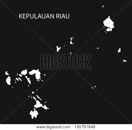 Kepulauan Riau Indonesia Map Black Inverted Silhouette Illustration Shape