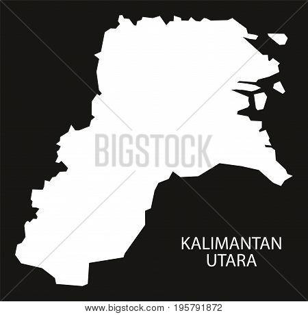Kalimantan Utara Indonesia Map Black Inverted Silhouette Illustration Shape