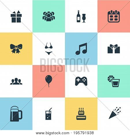 Vector Illustration Set Of Simple Banquet Icons