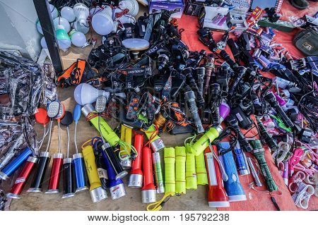 Keningau,Sabah,Malaysia-June 29,2017:Variety of electronic gadget in the local market Tamu in Keningau,Sabah.In Tamu there are many cheaper Chinese electronic gadget for sale.