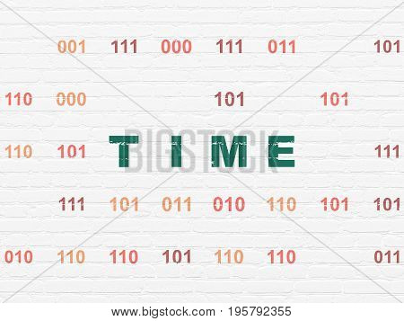 Timeline concept: Painted green text Time on White Brick wall background with Binary Code