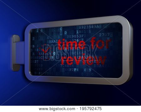 Timeline concept: Time for Review and Clock on advertising billboard background, 3D rendering