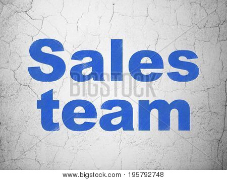 Advertising concept: Blue Sales Team on textured concrete wall background