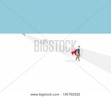 businessman in red cape standing at cliff business concept cartoon vector illustration