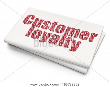 Advertising concept: Pixelated red text Customer Loyalty on Blank Newspaper background, 3D rendering