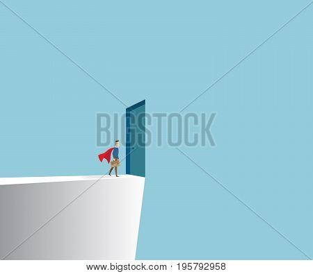 businessman in red cape standing front of door at cliff business concept cartoon vector illustration