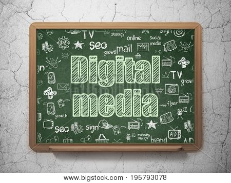 Advertising concept: Chalk Green text Digital Media on School board background with  Hand Drawn Marketing Icons, 3D Rendering