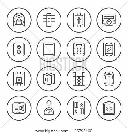 Set round line icons of elevator isolated on white. Vector illustration