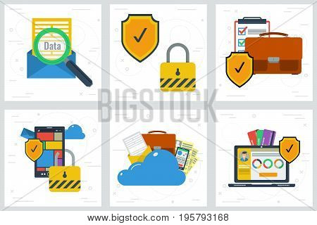 Vector illustration. Six square flat web banners. Concept of data protection and encryption. Shield and lock on personal information