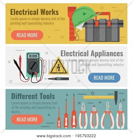 Vectoe illustrations. Three banners for electrical works