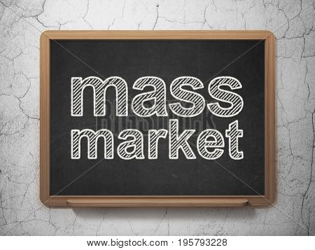 Advertising concept: text Mass Market on Black chalkboard on grunge wall background, 3D rendering