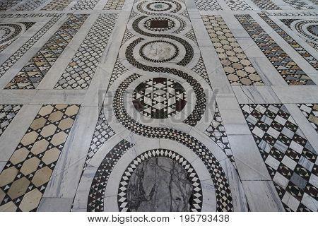 Detail of marble floor of basilica di San Giovanni in Laterano (St. John Lateran basilica). Italy Rome June 2017
