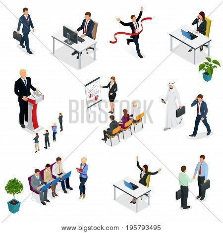 Isometric Business negotiations. Trendy isometric young creative people. Recruitment process to set isometric business employees on a white background. Vector illustration