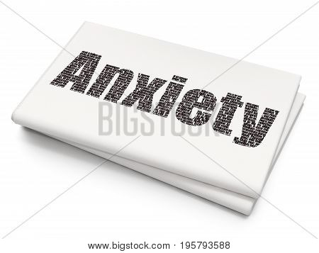 Health concept: Pixelated black text Anxiety on Blank Newspaper background, 3D rendering