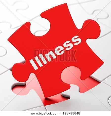 Healthcare concept: Illness on Red puzzle pieces background, 3D rendering