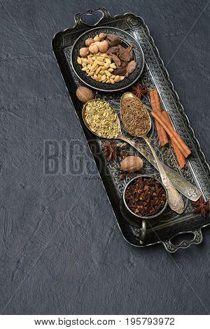 Spices For Baking Gingerbread Or Muffins: Vanilla, Cinnamon, Buckwheat, Coriander, Cloves, Cardamom,