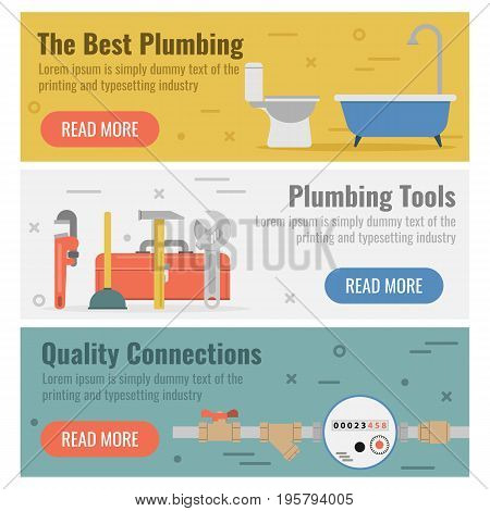 Vector horizontal three banners for plumbing service in flat style with buttons. Best plumbing, tools and quality connections as captions on colored backgrounds