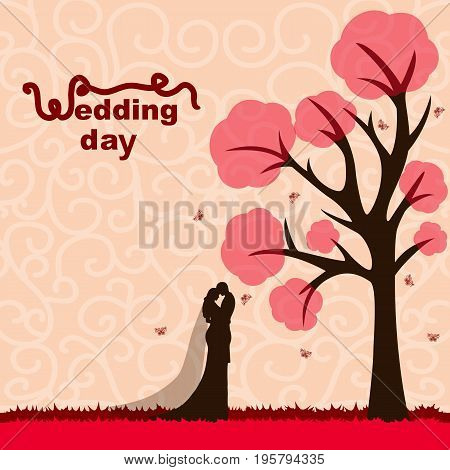 Bride and groom. Wedding card with the newlyweds on the background with decorative tree and butterflies . Wedding invitation. Vector illustration.