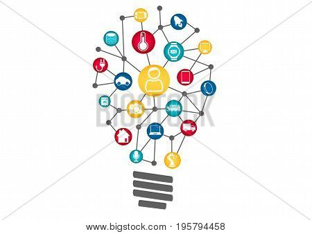 Internet of Things (IOT) concept. Vector illustration of light bulb representing machine learning and digitization