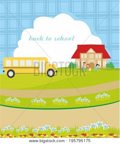 back to school card , vector illustration