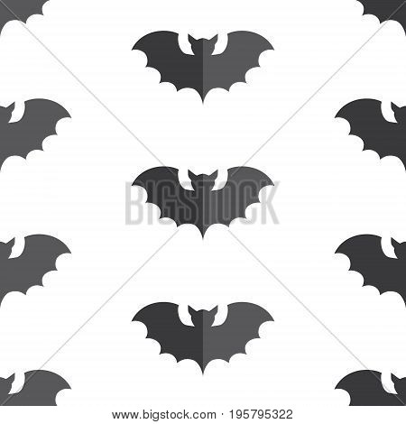 Halloween seamless pattern swarm of black bat. Beautiful vector background for decoration halloween designs. Cute minimalistic art elements on white backdrop.