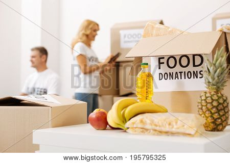 Voluntary tasks. Intelligent neat committed woman making sure food in the boxes packed right while checking the items according to the list
