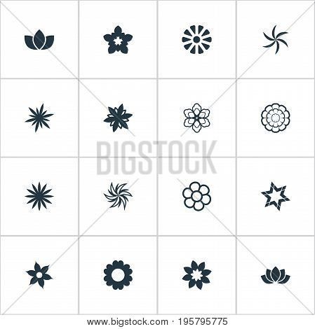 Vector Illustration Set Of Simple Flower Icons