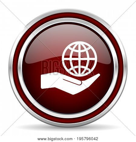 Hand protect the earth red glossy icon. Chrome border round web button. Silver metallic pushbutton.