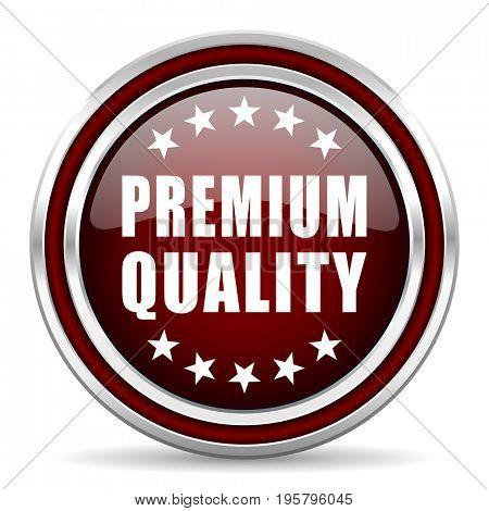 Premium quality red glossy icon. Chrome border round web button. Silver metallic pushbutton.