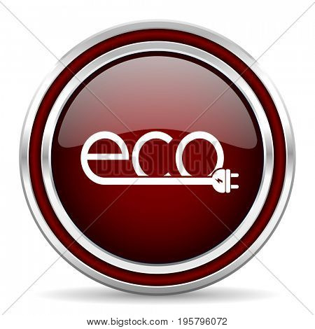 Eco electric plug red glossy icon. Chrome border round web button. Silver metallic pushbutton.
