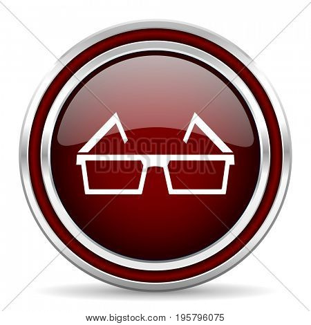 3d glasses red glossy icon. Chrome border round web button. Silver metallic pushbutton.