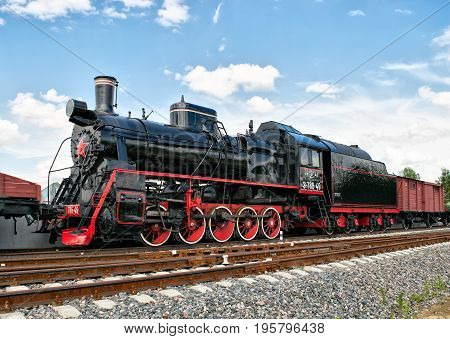 Old steam locomotive in Patriot Park in Moscow Region Russia
