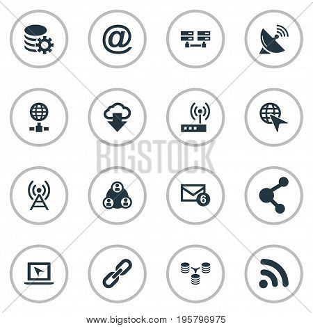 Vector Illustration Set Of Simple Network Icons