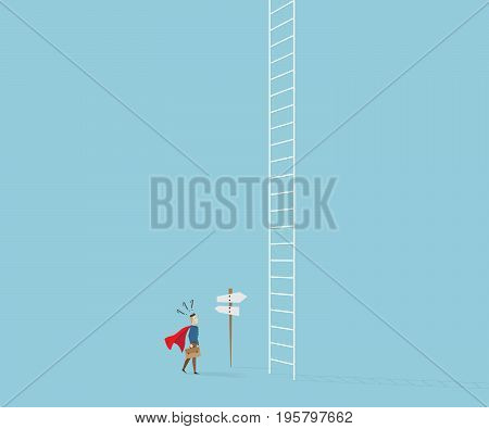 businessman in red cape and briefcase confused in front of white ladder with road sign business concept cartoon vector illustration