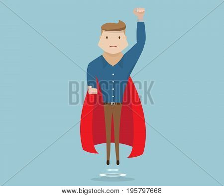 businessman flying with red cape business success concept cartoon vector illustration
