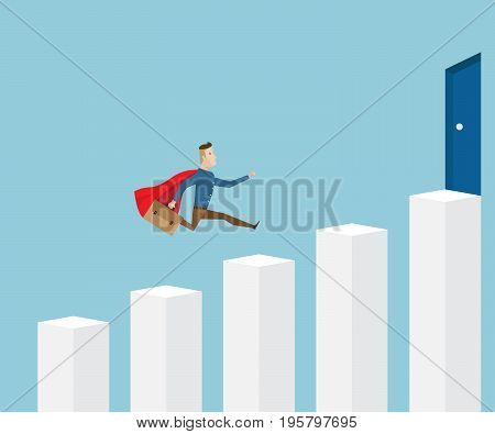 businessman in red cape and briefcase in hand running on stairs go to success door on top business concept cartoon vector illustration