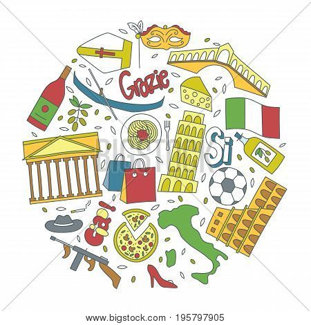 Hand drawn icons with Italy symbols - Pisa tower Coliseum mafia carnival theater football wine olive oil pizza flag gondola. Stickers, pins and patches in line style.