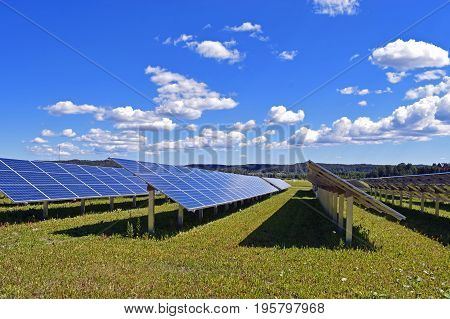 Rows of solar panels. Beautiful sky on background.