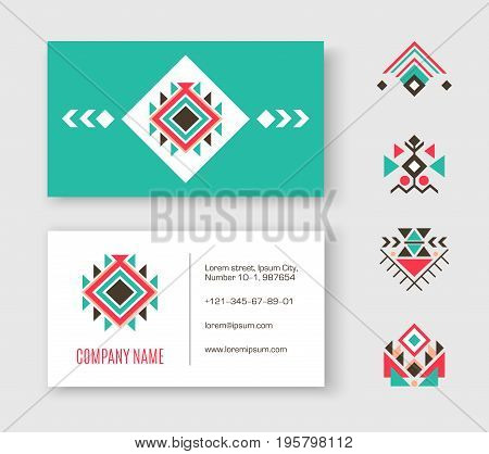 Tribal logo business card. Triangle geometric elements, ethnic pattern collection, aztec icons. Vector template identity card illustration with Indian symbols and traditional ornament.
