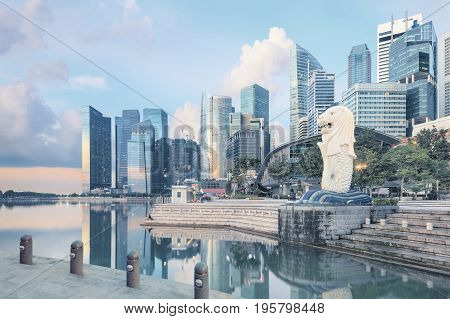 Singapore, Republic of Singapore - May 7, 2016: Marina Bay Sands hotel, ArtScience museum and Flyer near Merlion sculpture in the morning without people