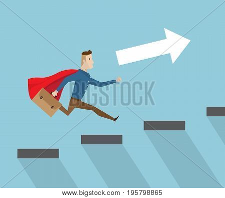 businessman with red cape and breafcase in hand running on stairs to success business vision concept cartoon vector illustration