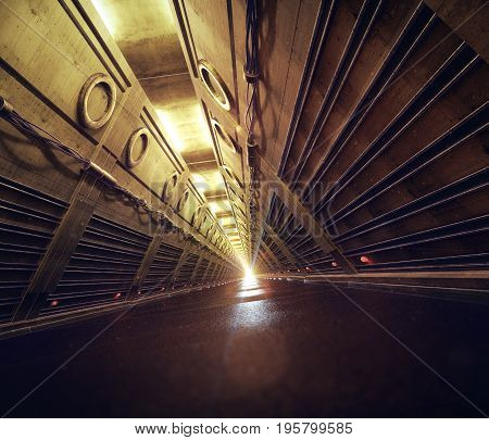 empty concrete subway fallout shelter sci-fi tunnel corridor hallway 3d render illustration