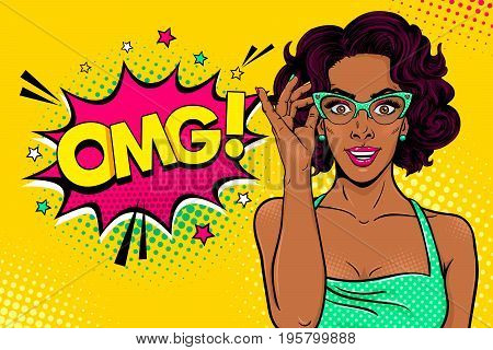 Wow female face. Sexy surprised black young woman in glasses with open mouth and curly hair and OMG speech bubble. Vector bright background in pop art retro comic style. Party invitation