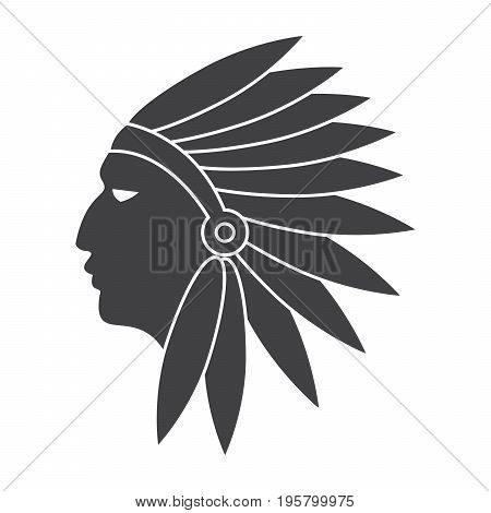 Cultural anthropology concept with native american indian, vector silhouette