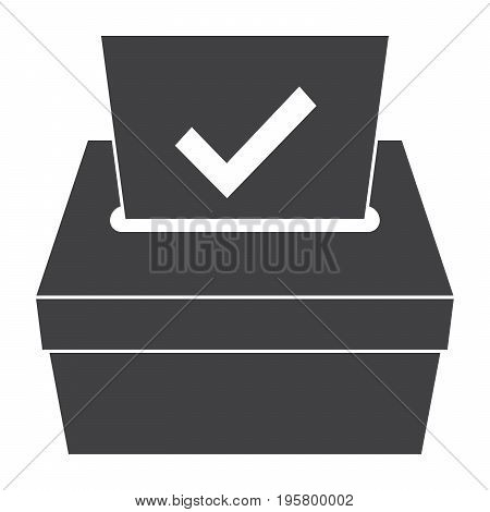 Election concept with ballot box, vector silhouette
