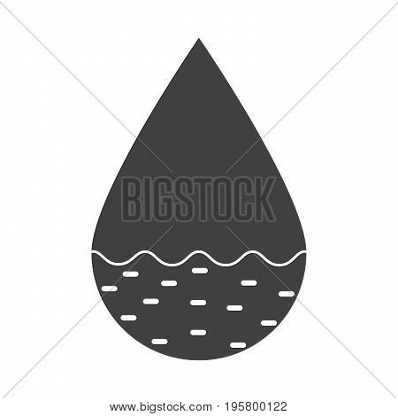 Hydrology concept with drop, vector silhouette on white background
